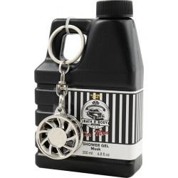Gel douche bidon d'huile et porte-clés pour homme