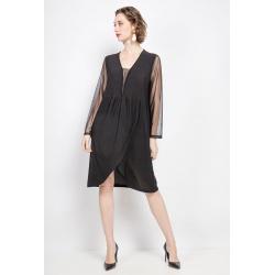 Robe noire avec manches transparentes et bas portefeuille